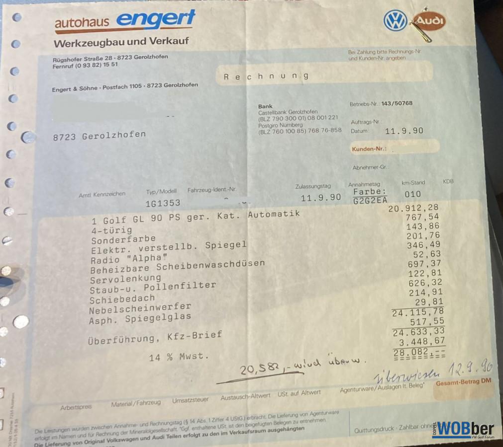 Originalrechnung Fahrzeugkauf.....